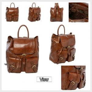 Leather Backpack - Rucksack Chestnut