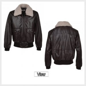 Mens Bomber Leather Jacket With Removable Sheepskin Collar