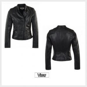 Womens Leather Biker Jacket Black
