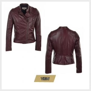 Womens Leather Biker Jacket Bordeaux
