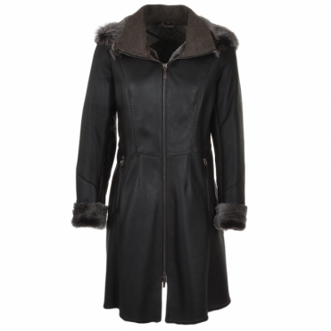 3/4 Hooded Toscana Sheepskin Coat Brown : Malaska