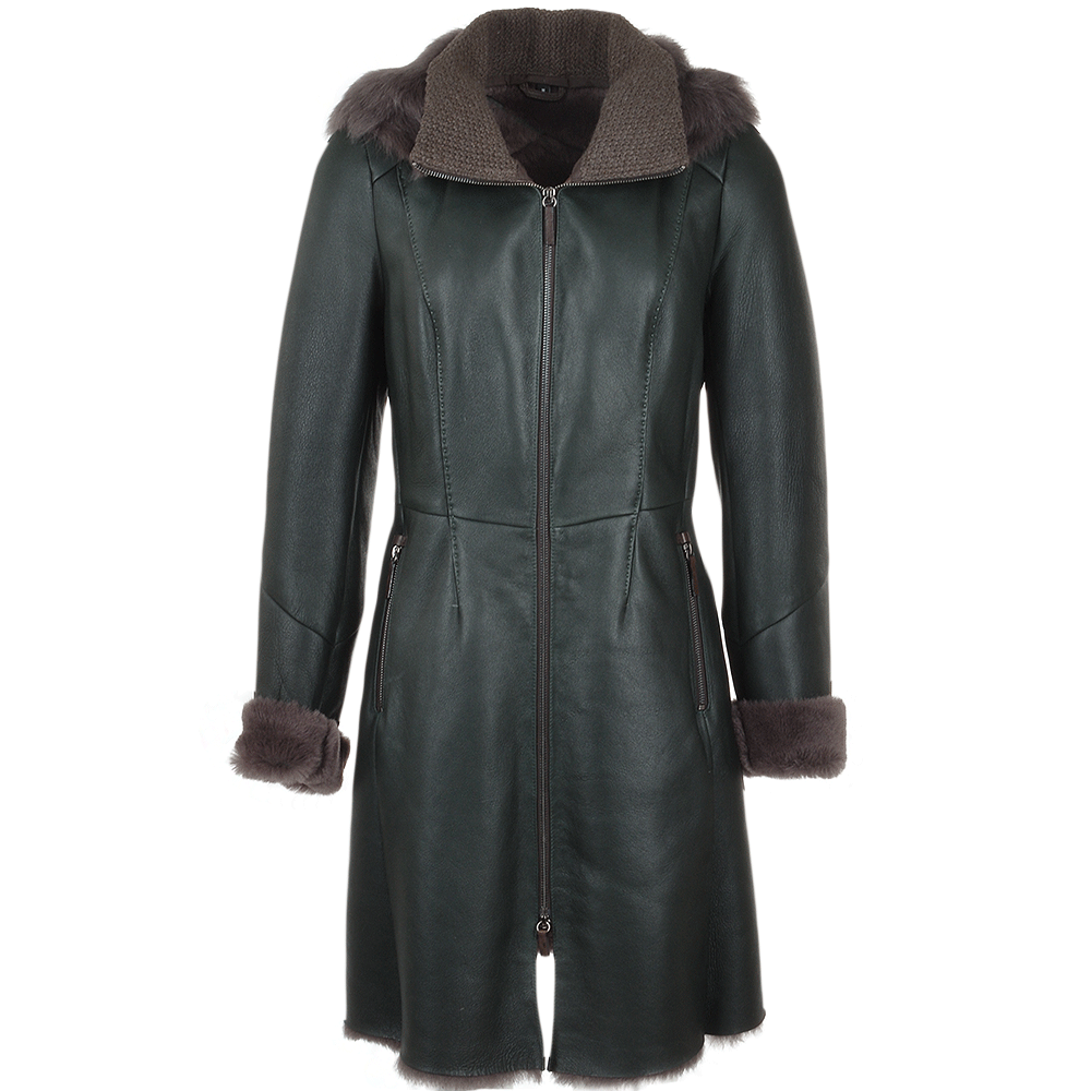 Women's 3/4 Hooded Toscana Sheepskin Coat Green : Malaska