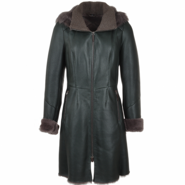 3/4 Hooded Toscana Sheepskin Coat Green : Malaska
