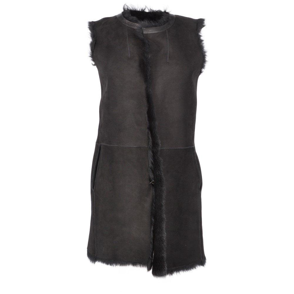 e5b7e2cbb 3/4 Length Toscana Suede Leather Gilet Black : Nanda