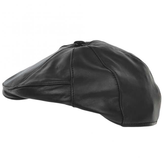 Ashwood 7 Panel Leather Flat Cap Black : Shelby