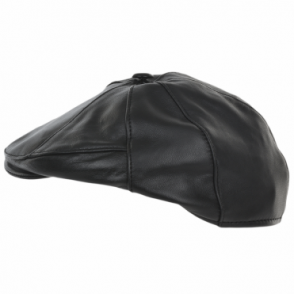 7 Panel Leather Flat Cap Black : Shelby