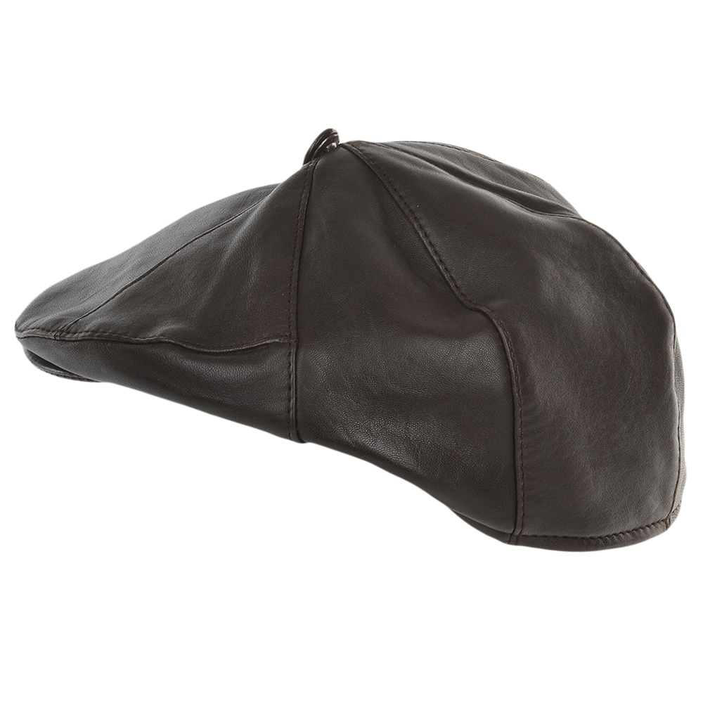 Mens 7 Panel Leather Flat Cap Brown   Shelby 66cee1f5d0d