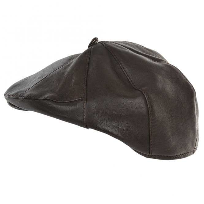 Ashwood 7 Panel Leather Flat Cap Brown : Shelby