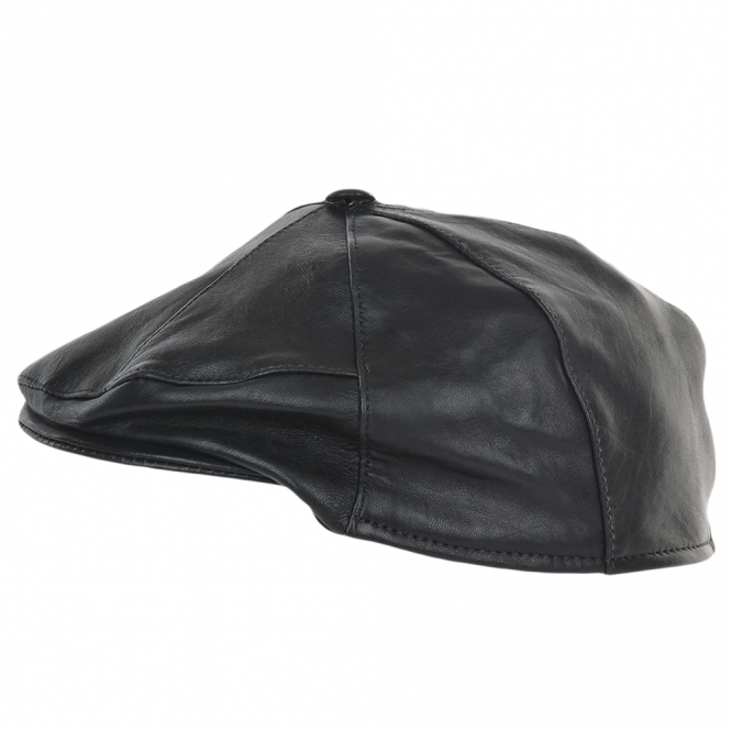 Ashwood 7 Panel Leather Flat Cap Navy : Shelby
