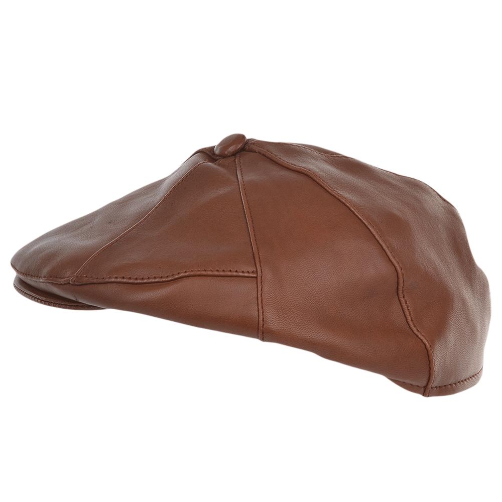 Mens 7 Panel Leather Flat Cap Tan   Shelby 9eeb88eabb1