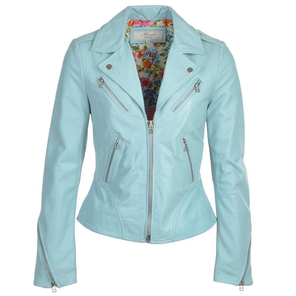 Womens Biker Jacket Pale Blue Alaana