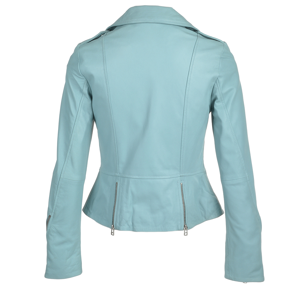 Womens Biker Jacket Pale Blue Alaana