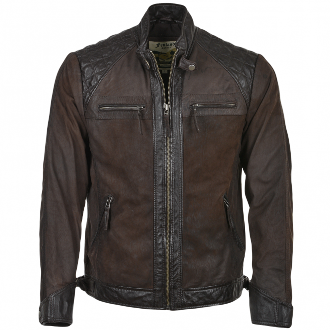 Ashwood Buff & Hide Leather Biker Jacket Brown/snu : Bronx