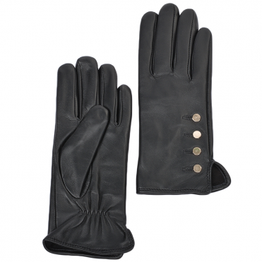 Button Detail Leather Gloves Black : 109