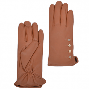 Button Detail Leather Gloves Lt.Tan : 109