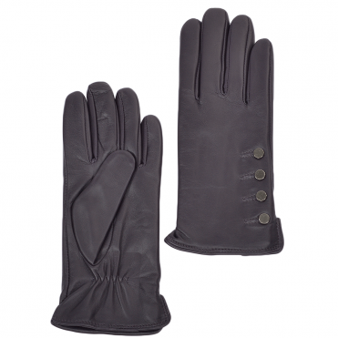 Button Detail Leather Gloves Purple : 109