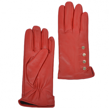 Button Detail Leather Gloves Red : 109