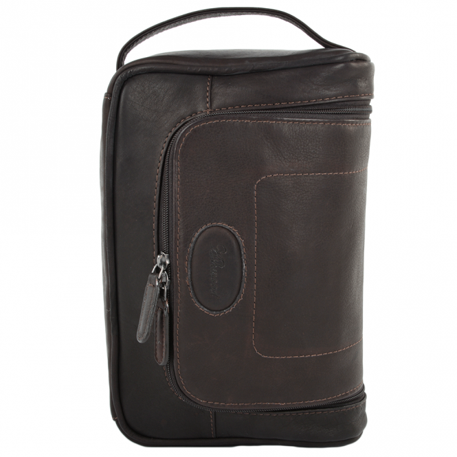 Ashwood Columbian Leather Hanging Wash Bag Brown : 8140