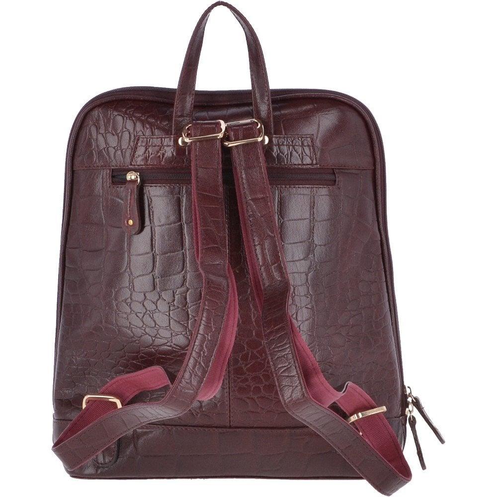 ASHWOOD Crocodile Leather Print Backpack Bordeaux   SB067 - Handbags ... 8220230980dc6