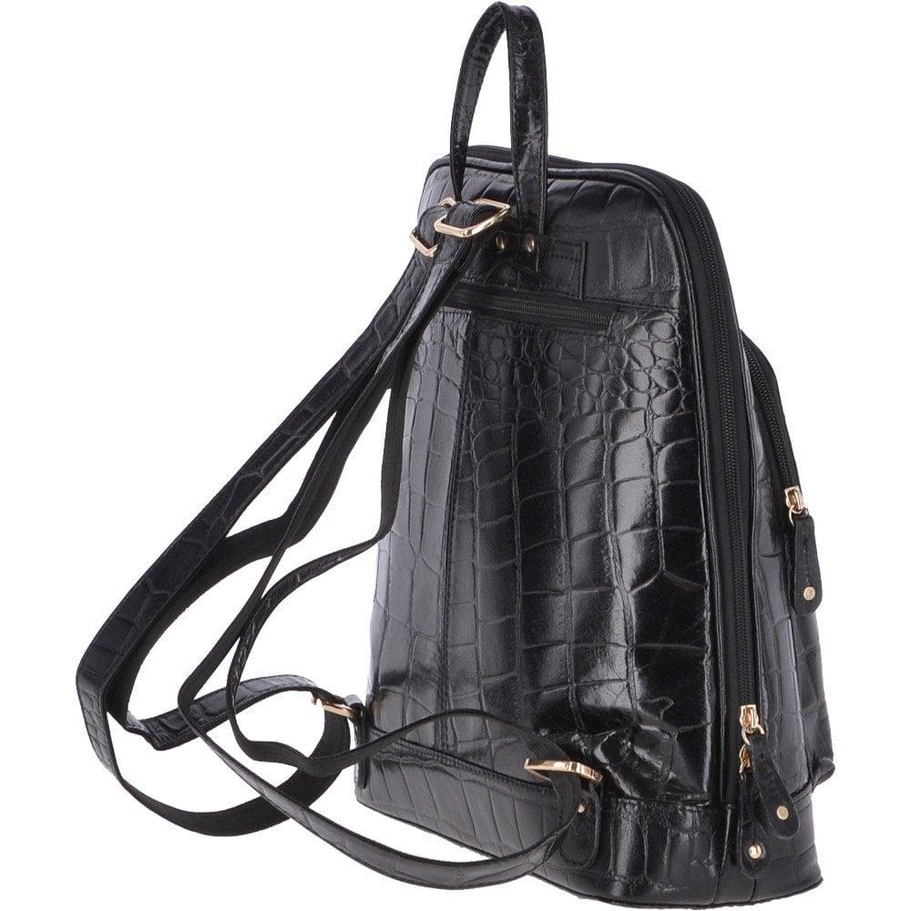ASHWOOD Crocodile Leather Print Backpack Croc Black   SB067 ... 59e7b0c6a23de