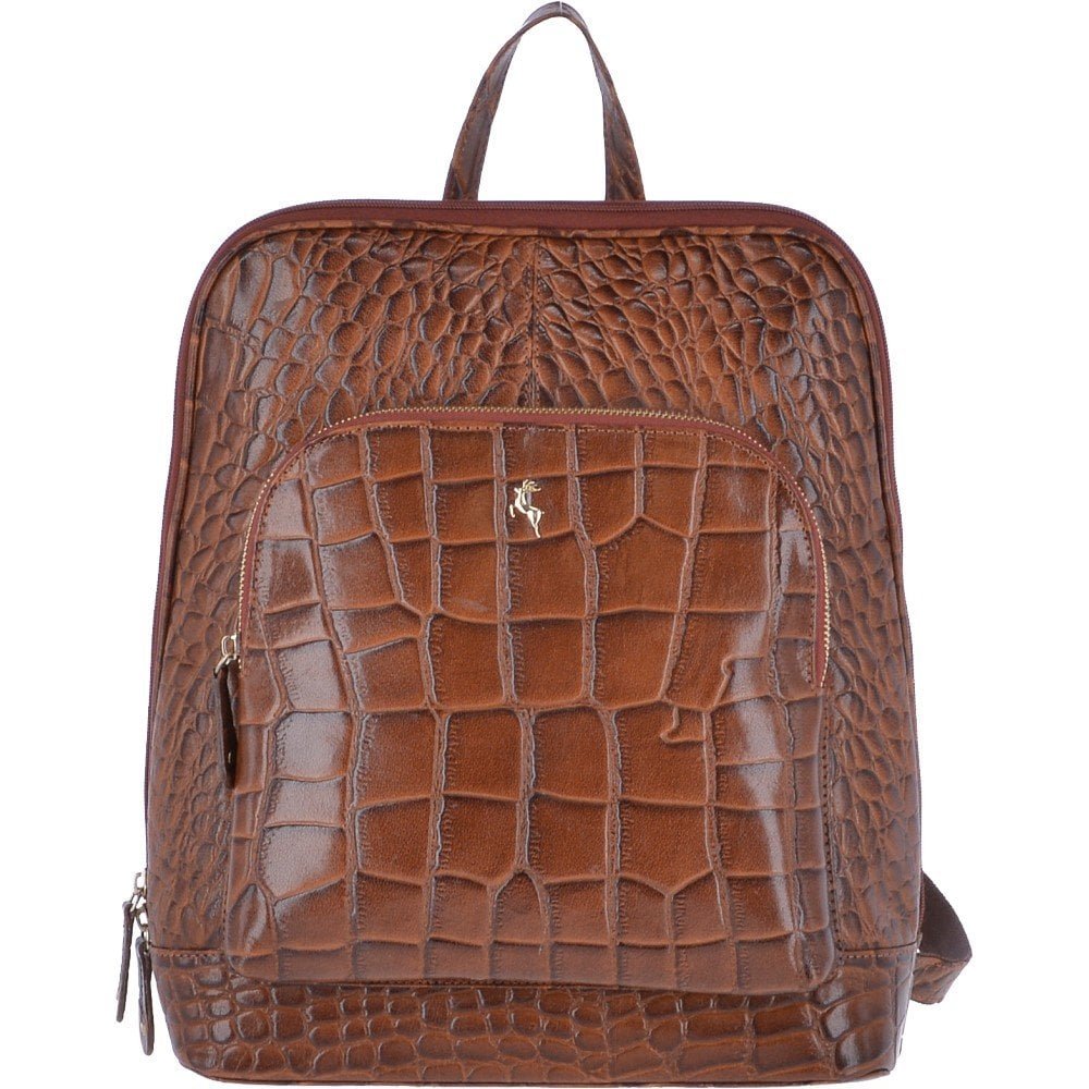ASHWOOD Crocodile Leather Print Backpack Croc cognac   SB067 ... 63819dc2da9ba