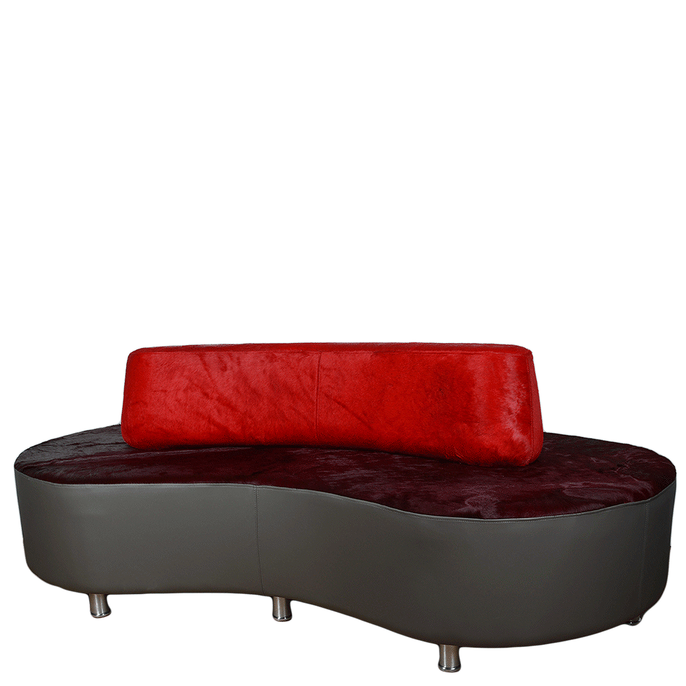 Designer Leather Sofa Brum Red/burgundy/grey : Picasso Collection