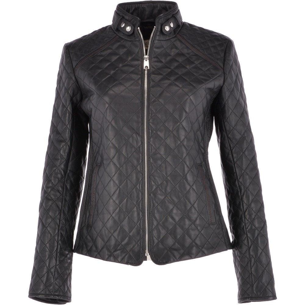 9f5977bfcb7a8 ASHWOOD Diamond Quilted Leather Biker Jacket Black   Kinsley ...