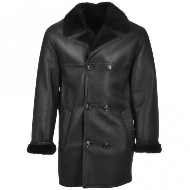 Ashwood Double Breasted Leather Sheepskin Coat Black : Corleone