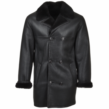 Double Breasted Leather Sheepskin Coat Black : Corleone