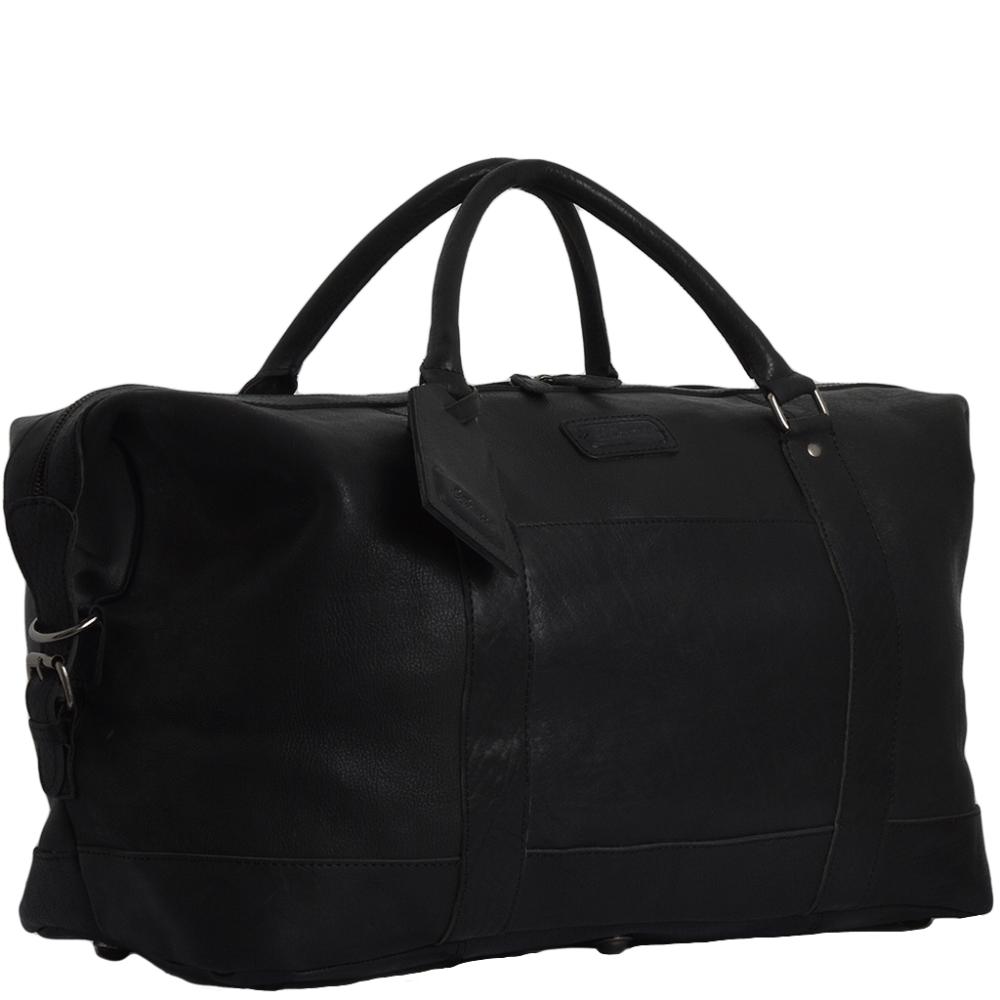 Mens Travel Bag Extra Large Leather Travel Holdall Black
