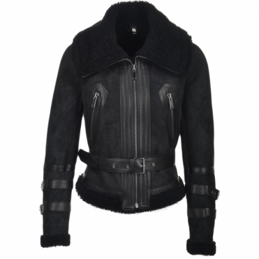 Fitted Sheepskin Aviator Flying Jacket Black/suede : Winnipeg