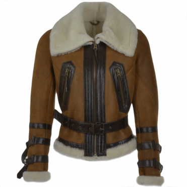 Fitted Sheepskin Aviator Flying Jacket Tan : Winnipeg