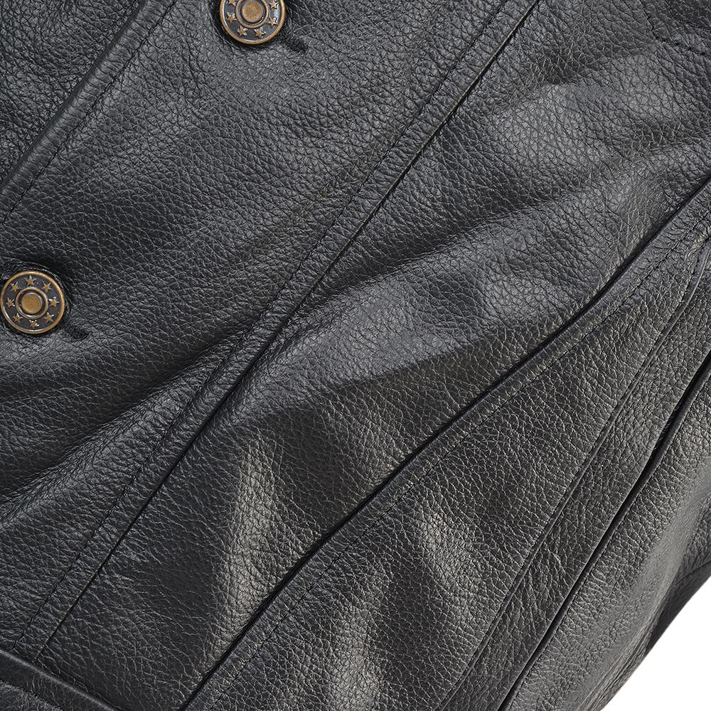 cf86740120769 Four Pocket Sleeveless Leather Biker Jacket Black   Crusader