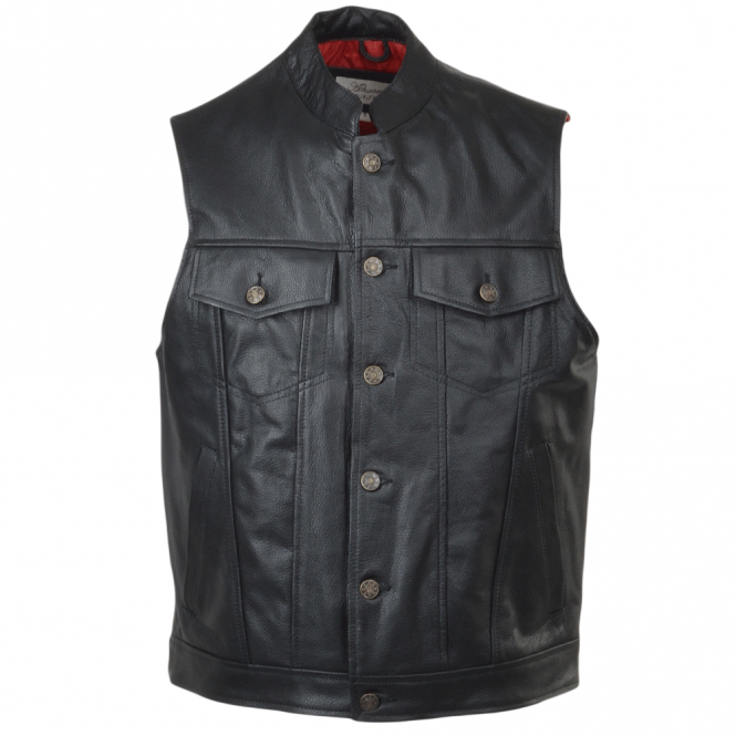 Ashwood Four Pocket Sleeveless Leather Biker Jacket Black : Sabre