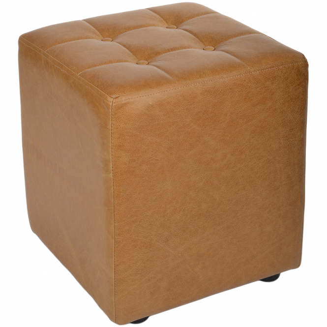 Ashwood Full Grain Handcrafted Vintage Leather Cube Stool Light Tan: Lincoln