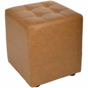 Full Grain Handcrafted Vintage Leather Cube Stool Light Tan: Lincoln
