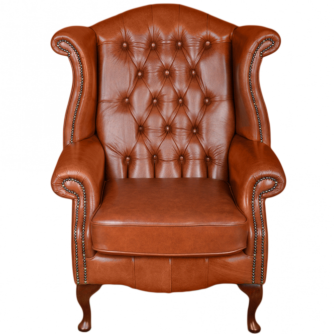 Ashwood Full Grain Leather Chesterfield Scroll Wing Chair Tan