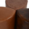 Ashwood Full Grain Leather Handcrafted Corner Seat Stool Tan: Warwick