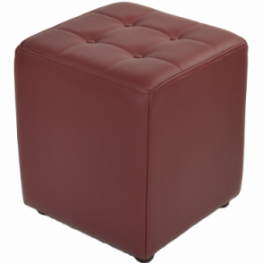 Full Grain Leather Handcrafted Cube Stool Bordeaux: Lincoln