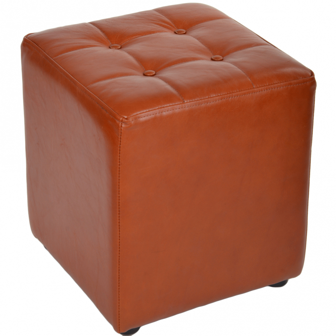 Ashwood Full Grain Leather Handcrafted Cube Stool Cognac: Lincoln