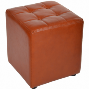 Full Grain Leather Handcrafted Cube Stool Cognac: Lincoln
