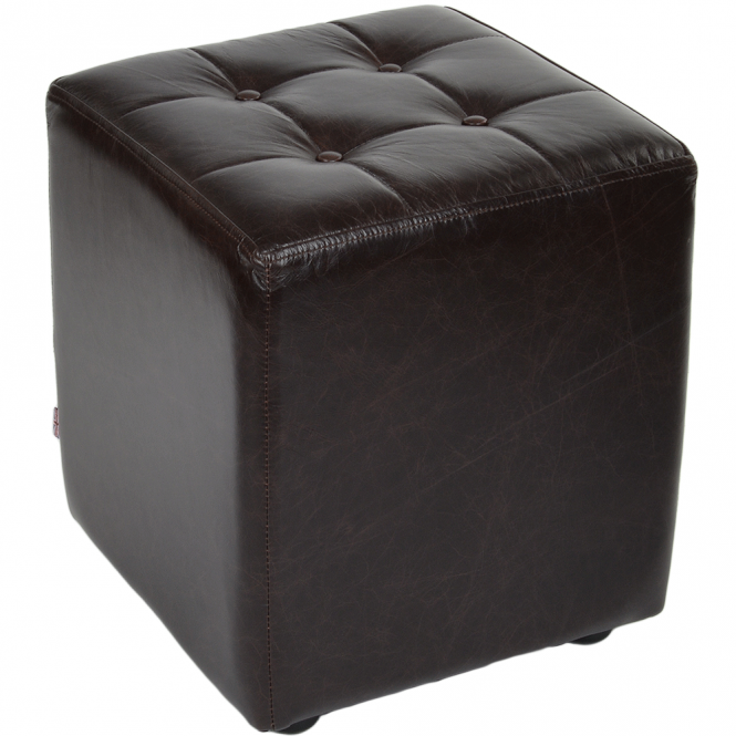 Ashwood Full Grain Leather Handcrafted Cube Stool Dark Brown: Lincoln