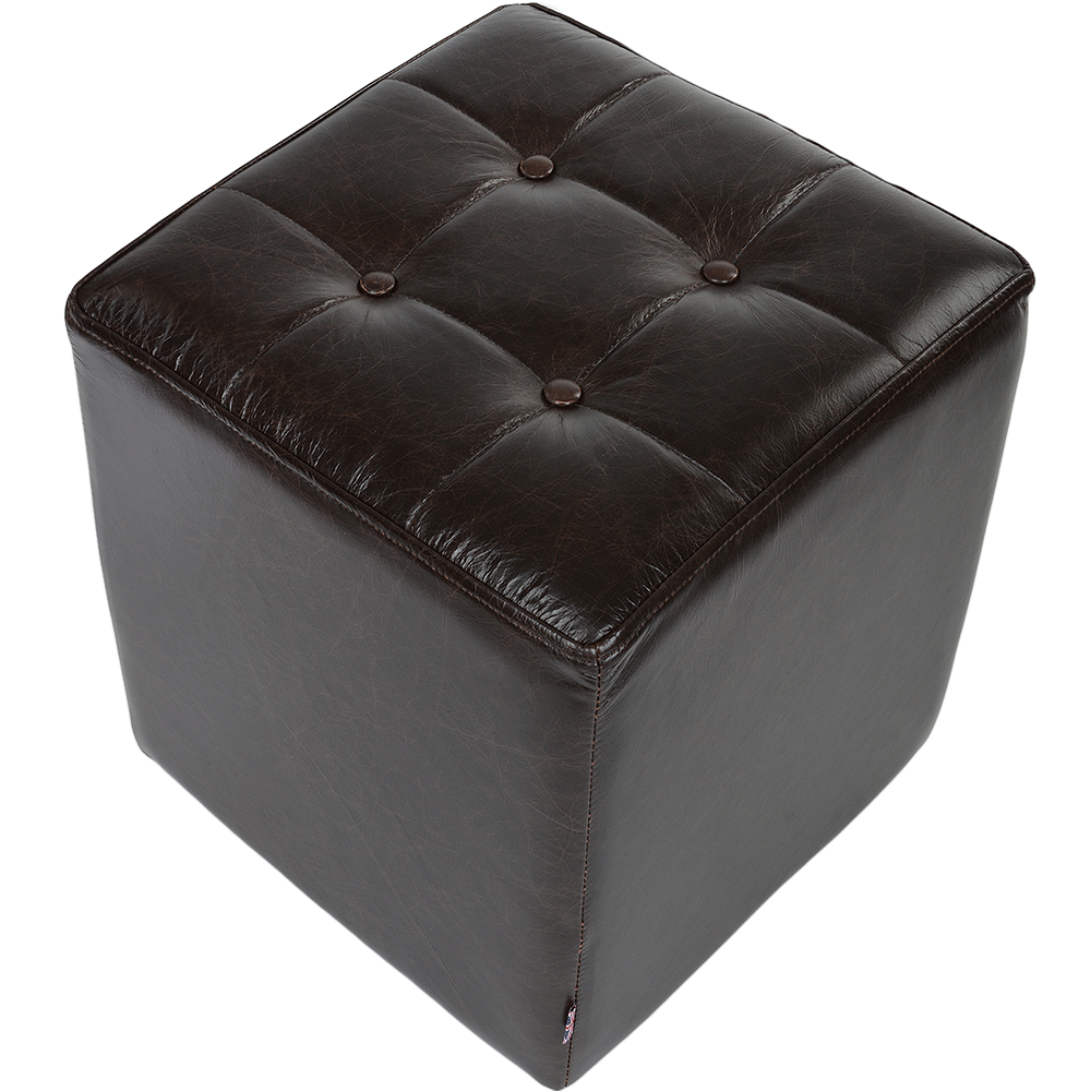 Full Grain Leather Handcrafted Cube Stool Dark Brown Lincoln