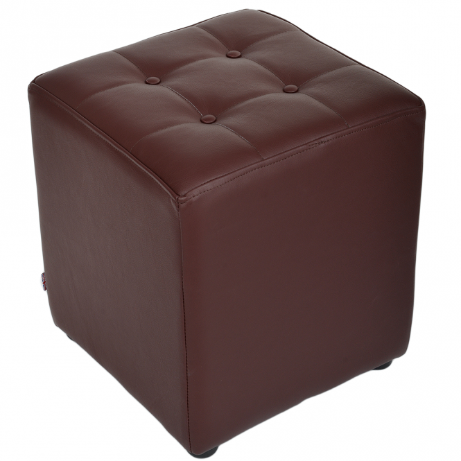 Ashwood Full Grain Leather Handcrafted Cube Stool Mid Brown: Lincoln