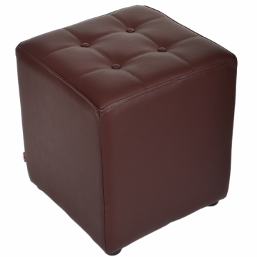 Full Grain Leather Handcrafted Cube Stool Mid Brown: Lincoln