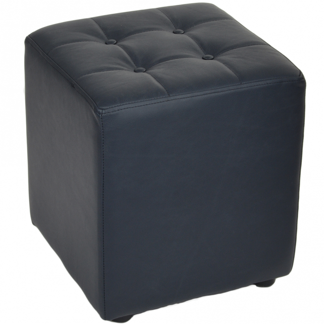 Ashwood Full Grain Leather Handcrafted Cube Stool Navy: Lincoln