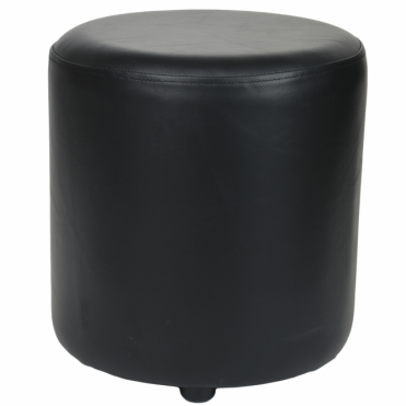 Full Grain Leather Handcrafted Round Stool Black: Worcester