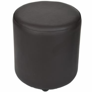 Full Grain Leather Handcrafted Round Stool Brown: Worcester