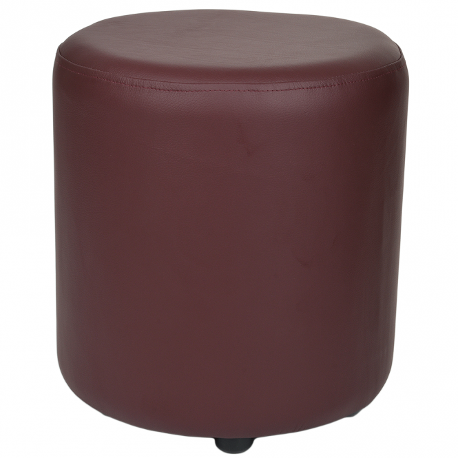 Ashwood Full Grain Leather Handcrafted Round Stool Burgundy: Worcester