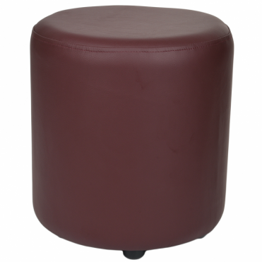 Full Grain Leather Handcrafted Round Stool Burgundy: Worcester